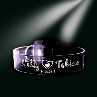 Liebesarmband / Freundschaftsband LED mit Namen und Datum