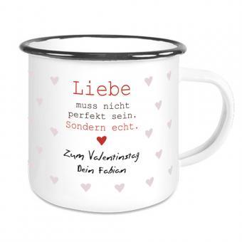 Emaille Tasse mit Namen und Spruch Liebe muss nicht...