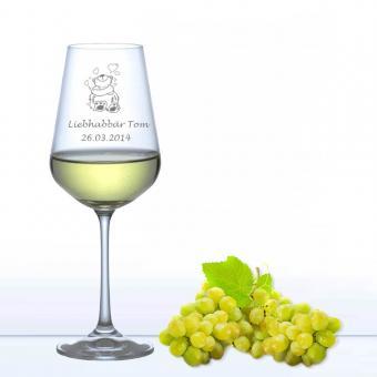 Weißweinglas mit Gravur - Liebhabär