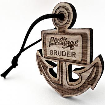 "Schlüsselanhänger aus Holz Anker mit Gravur ""Lieblings"""