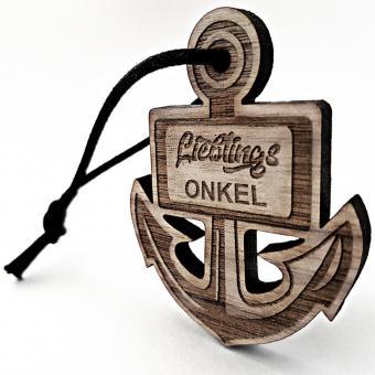 personalisierter Holz Schlüsselanhänger Lieblingsmensch für den Onkel