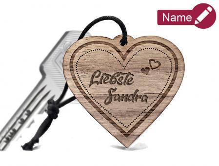 gravierter Holz Schlüsselanhänger mit Ihrem Wunschnamen