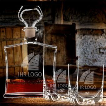Whiskykaraffe mit Logo graviert im Set Whiskybecher 3-tlg.