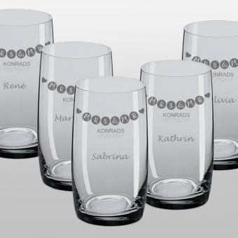 Longdrinkglas als Spar Set für die Hochzeit graviert