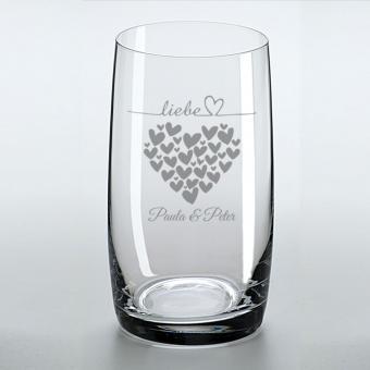 Trinkglas - Liebes Herzen - mit Ihren Namen graviert