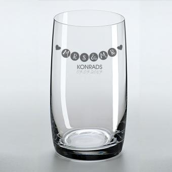 Longdrinkglas mit Hochzeits-Gravur