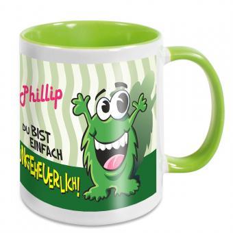 Lustige Monster-Tasse mit eigenem Namen