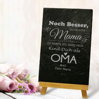 """Schieferplatte mit Gravur / Spruch """"Noch besser als..."""" für die Mama / Oma"""