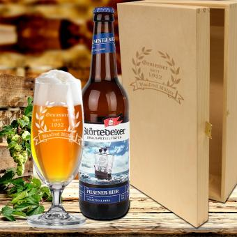 Biergeschenk Pils Bierglas im Geschenkset mit Gravur