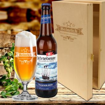 Bier Geschenkset - individuelles Bierglas mit Gravur