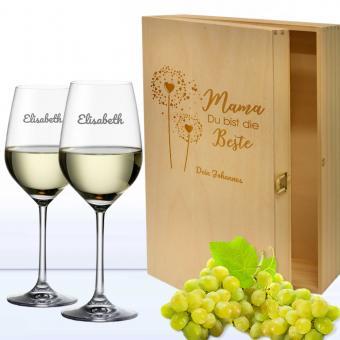 Weingläser in 3er Holzkiste Mama Du bist die Beste