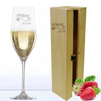 Gläser mit Gravur Sektglas in Holzkiste