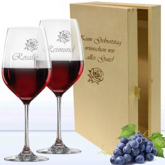 Rotweingläser in Holzkiste als Personalisierbares Geschenk