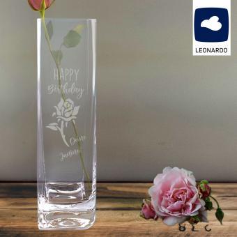 Vase Leonardo mit Gravur Rose und Wunschtext