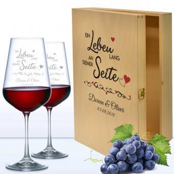 Rotweingläser mit Namen in bedruckter Holzkiste - Ein Leben lang an deiner Seite