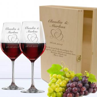 Rotwein Geschenkset in Holzkiste mit Gravur