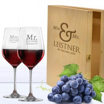 Rotwein Geschenkset mit Holzkiste