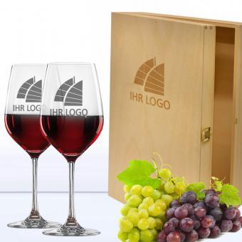 Wein Geschenkset mit Logo in 3er Holzkiste Rotwein