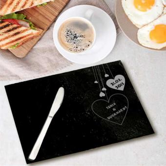 Frühstücksbrett aus Schiefer mit Herzen