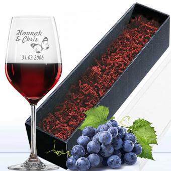 Rotweinglas in Geschenkverpackung