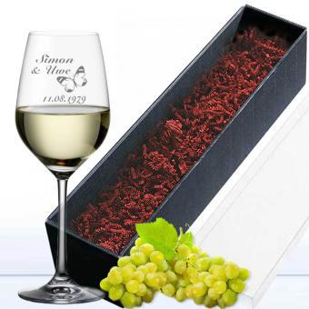 Weißweinglas in Geschenkverpackung