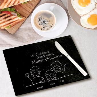 Frühstücks-Brett aus Schiefer mit Gravur