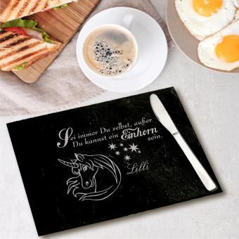 Frühstücksbrett aus Schiefer mit Einhornmotiv
