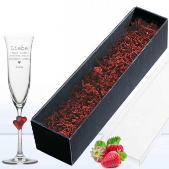 graviertes Sektglas in Geschenkverpackung