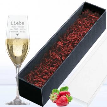 Sektglas mit Wunschgravur in Geschenkverpackung