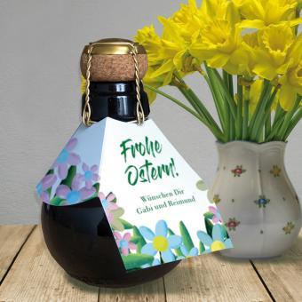 Sektbombe zu Ostern mit personalisiertem Flaschenanhänger
