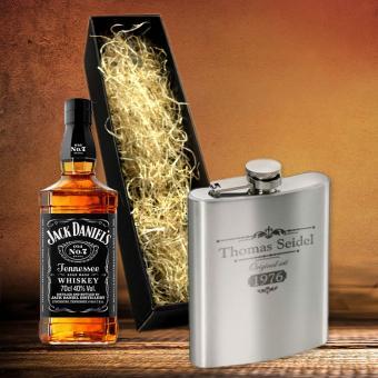 Jack Daniel´s Whisky Geschenkset mit Flachmann und Gravur