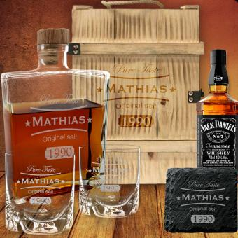 Personalisiertes Whisky Set mit Jack Daniel´s in geflammter Holzbox