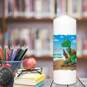 Kerze zum Schulanfang / Einschulung mit Wunschnamen bedruckt