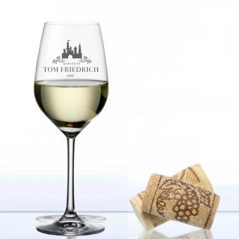 graviertes Weinglas Weißwein Chateau
