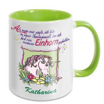 Einhorn Kaffeebecher mit Spruch und Namen