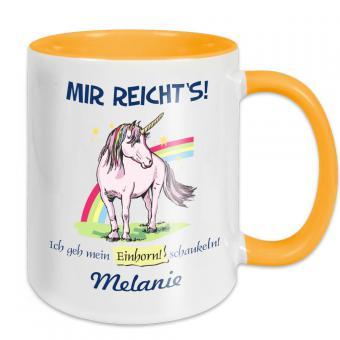 Kaffee- oder Teetasse mit Einhorn Motiv