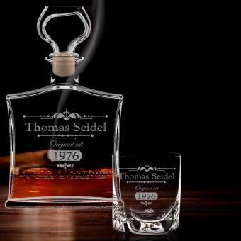 Personalisierte Whiskykaraffe und Whiskybecher mit Gravur