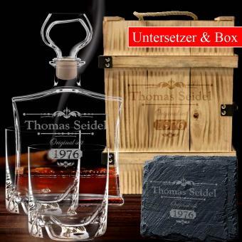 Whisky Geschenkset mit Gravur PREMIUM 6-tlg in Holzkiste