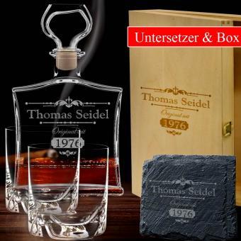 Whisky Geschenkset mit Gravur 6-tlg in Holzkiste