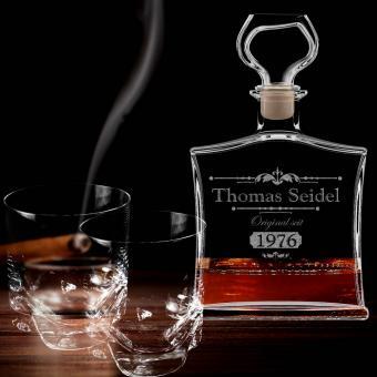 Whisky Geschenkset Whiskykaraffe graviert mit Gläsern im Set 3-tlg