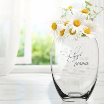 Bauchige Vase mit Engel ohne Flügel Gravur