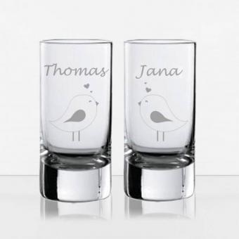 Schnapsglas mit Gravur für Paare