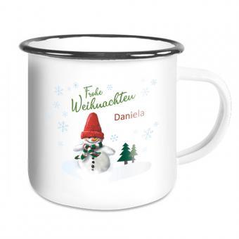 Emaille Tasse für Weihnachten mit Schneemann und Namen