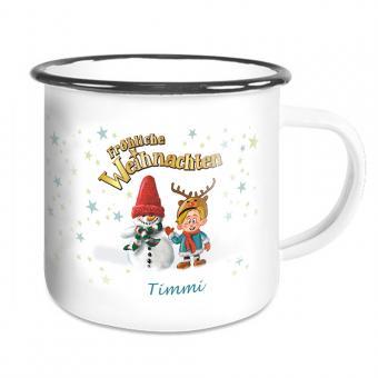 Emailletasse  zu Weihnachten mit Schneemann  und Namen