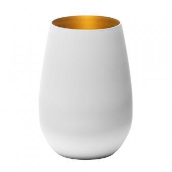 Trinkglas Olympic Stölzle 465 ml weiß/gold mit Logo