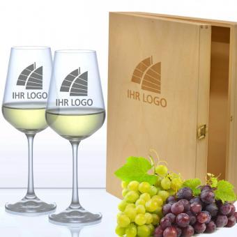 Mit Ihrem Logo graviertes Weiß-Weingeschenkset mit Holzbox
