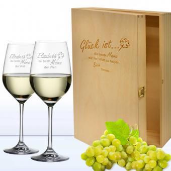 Weingläser in 3er Holzkiste Glück ist
