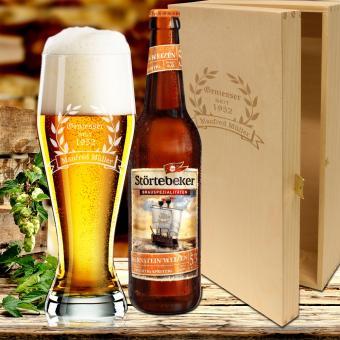 Biergeschenk Weizenbierglas im Geschenkset mit Gravur