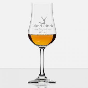 Whiskyglas mit Stiel und Namensgravur
