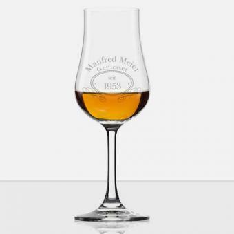 Graviertes Whisky Glas mit Stiel und Namen